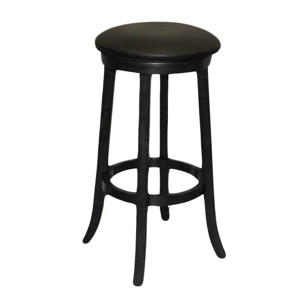 Black Backless Barstool