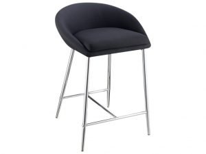 Black Plush Chrome Stool