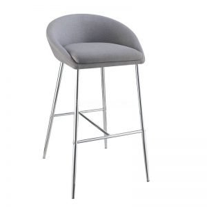 Grey Plush Chrome Stool