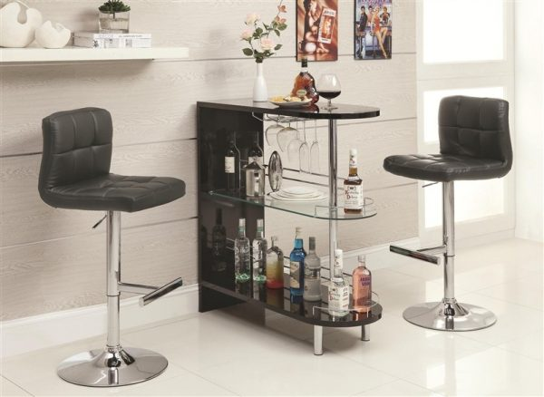 Contemporary Bar, Glossy Black Rounded