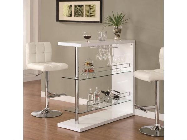 Contemporary Bar, Glossy White Rectangular