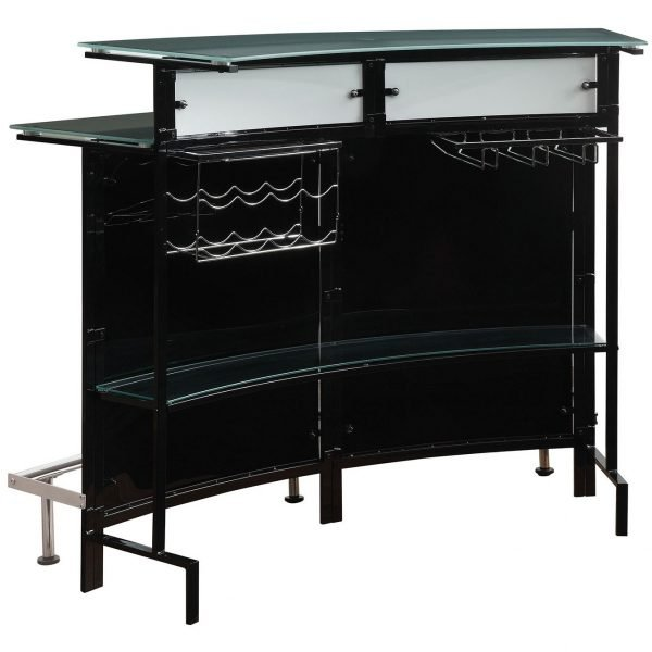 Contemporary Bar, Steel and Acrylic Black