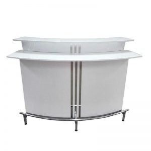 Contemporary Bar, Glossy White with Footrest