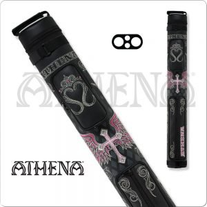 Athena 2x2 Pink and Black Hard Embroidered Cue Case