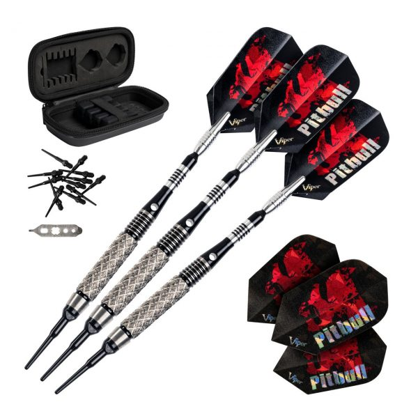 Pitbull Tungsten Soft Tip Darts Six Ringed Barrel 18 Grams